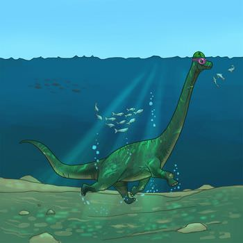 ブラキオサウルス 水中