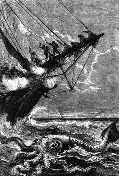 クラーケンに攻撃された戦艦